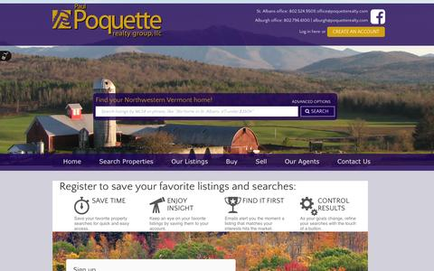 Screenshot of Signup Page poquetterealty.com - Paul Poquette Realty Group, LLC - captured Oct. 2, 2014