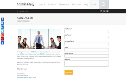 Screenshot of Contact Page ownersedgellc.com - Start your Strategic Business Plan | Owners Edge LLC - captured Sept. 21, 2018