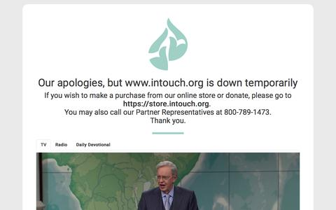 Screenshot of Home Page intouch.org - Our apologies, but www.intouch.org is down temporarily. - captured Feb. 18, 2020