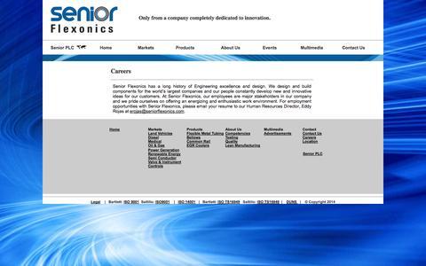 Screenshot of Jobs Page seniorflexonics.com - Great people work at Senior Flexonics! - captured Oct. 9, 2014