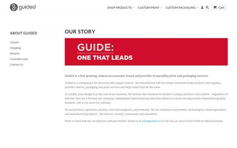 Screenshot of About Page guidedproducts.com - Guided is a marketplace for discovery and unique creative.                           | Guided - captured Oct. 3, 2014