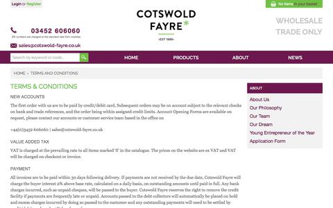 Screenshot of Terms Page cotswold-fayre.co.uk - Terms and Conditions - captured Sept. 5, 2017