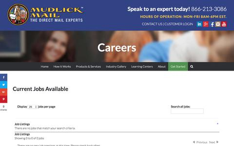 Screenshot of Jobs Page mudlickmail.com - Careers | Mudlick Mail - The Direct Mail Experts - captured Jan. 16, 2018
