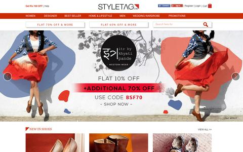 Screenshot of Home Page styletag.com - Online Shopping Discounts On Designer Dresses For Men & Women | Buy Handbags, Footwear, Accessories & More - Styletag - captured Jan. 13, 2016