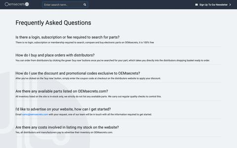 Screenshot of FAQ Page oemsecrets.com - Frequently Asked Questions - OEMsecrets - captured Jan. 21, 2019