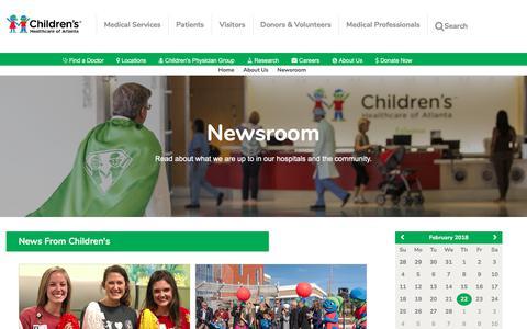 Screenshot of Press Page choa.org - Newsroom | Children's Healthcare of Atlanta - captured Feb. 23, 2018
