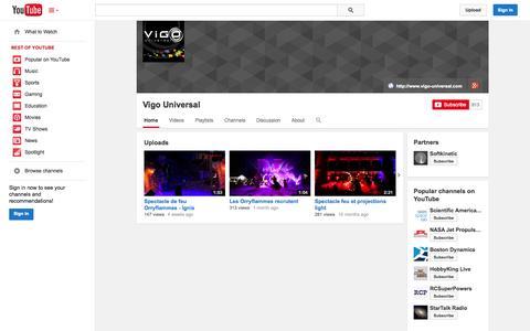 Screenshot of YouTube Page youtube.com - Vigo Universal  - YouTube - captured Nov. 5, 2014