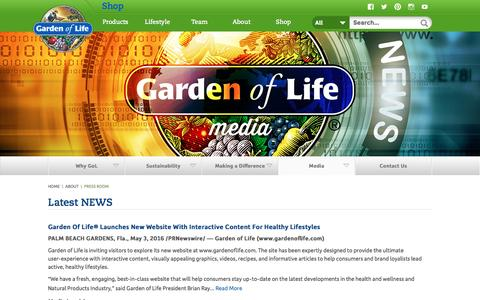 Screenshot of Press Page gardenoflife.com - Latest News, Media and Press Releases | Garden of Life® - captured July 11, 2016