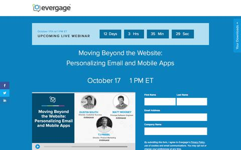 Screenshot of Signup Page evergage.com - Evergage | Moving Beyond the Website: Personalizing Email and Mobile Apps - captured Oct. 5, 2019