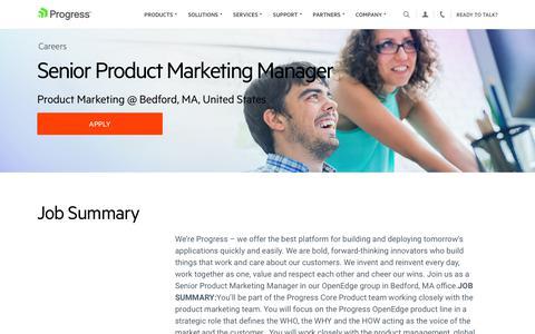 Screenshot of Jobs Page progress.com - Senior Product Marketing Manager, Product Marketing @ Bedford, MA, United States - Progress Careers - captured July 17, 2019