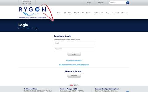 Screenshot of Login Page rygoncorp.com - Login :: Rygon :: Expertise. Insight. Partnerships. Consultancy. - captured Feb. 22, 2016