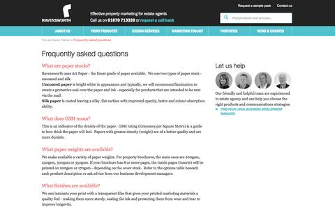 Screenshot of FAQ Page ravensworth.co.uk - Ravensworth   The full service agency for the property market - captured Oct. 25, 2014