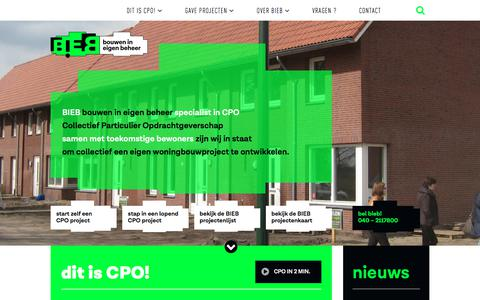 Screenshot of Home Page bouwenineigenbeheer.nl - BIEB -Bouwen In Eigen Beheer - captured Aug. 3, 2018