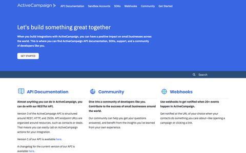 Screenshot of Developers Page activecampaign.com - ActiveCampaign - captured June 18, 2019