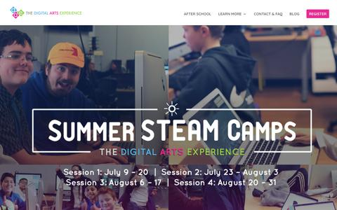 Screenshot of Signup Page thedae.com - Summer Camp | The Digital Arts Experience - captured Nov. 16, 2018