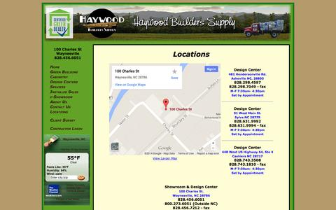 Screenshot of Locations Page haywoodbuilders.com - Locations - Haywood Builders Supply - captured Oct. 1, 2014