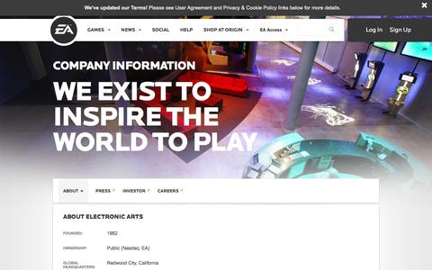 Screenshot of About Page ea.com - About EA l Electronic Arts - captured Nov. 25, 2016