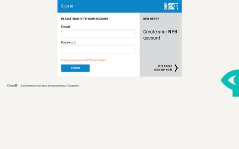 Screenshot of Login Page nfb.ca - Sign in - NFB.ca - captured June 9, 2019