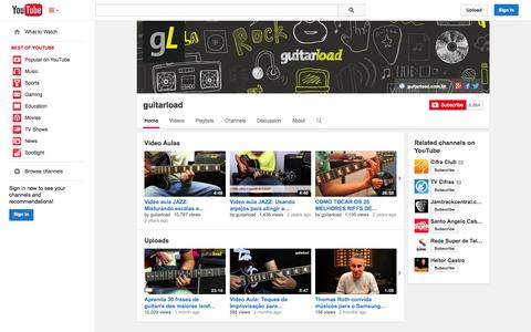 Screenshot of YouTube Page youtube.com - guitarload  - YouTube - captured Oct. 23, 2014