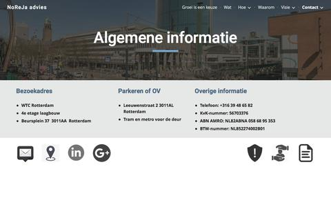 Screenshot of Contact Page google.com - NoReJa advies - Contact - captured Oct. 2, 2016