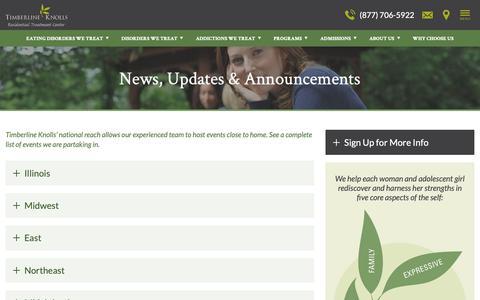 Screenshot of Press Page timberlineknolls.com - News & Events | Timberline Knolls - captured Nov. 8, 2018