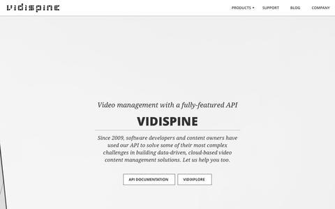 Screenshot of Home Page vidispine.com - API-based Media Asset Management Platform | Vidispine - captured June 12, 2017