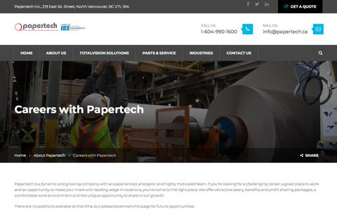 Screenshot of Jobs Page papertech.ca - Careers with Papertech - captured July 15, 2018