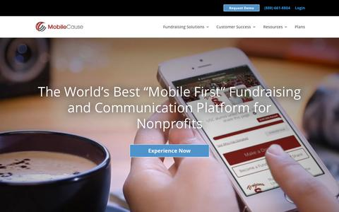 Screenshot of Home Page mobilecause.com - Cloud Based Fundraising | MobileCause - captured Sept. 20, 2015