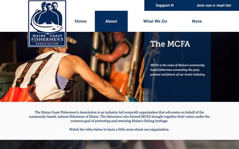 Screenshot of About Page mainecoastfishermen.org - Maine Coast Fishermen's Association: About MCFA - captured Oct. 4, 2017