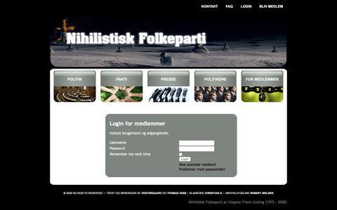 Screenshot of Login Page nihilistisk-folkeparti.dk - Nihilistisk Folkeparti - Login - captured Jan. 11, 2016