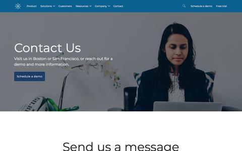 Screenshot of Contact Page tamr.com - (1) New Message! - captured Sept. 12, 2018