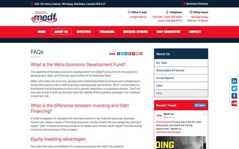 Screenshot of FAQ Page medf.ca - FAQs | Metis Economic Development Fund - captured Oct. 18, 2017