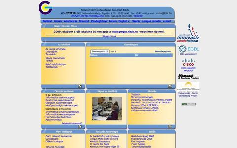 Screenshot of Home Page kzs.hu - Hódmezővásárhelyi Integrált Szakképző Központ Szakiskola és Szakközépiskola Gregus Máté Tagintézmény - captured Oct. 12, 2015