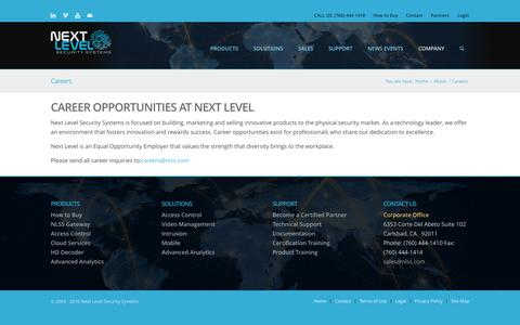 Screenshot of Jobs Page nlss.com - Careers – Next Level Security Systems - captured Nov. 30, 2016