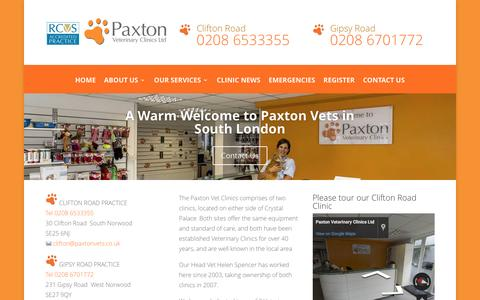 Screenshot of Home Page paxtonvets.co.uk - South London Vet in Croydon & Dulwich | Paxton Vets - captured Oct. 29, 2016