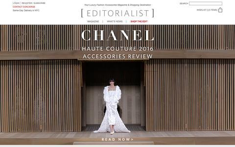 Screenshot of Home Page editorialist.com - Editorialist | Luxury Fashion Accessories Magazine & Online Store - captured Jan. 29, 2016