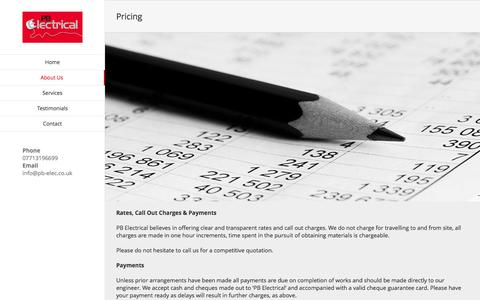 Screenshot of Pricing Page pb-elec.co.uk - Pricing – PB Electrical Contracting Ltd - captured Nov. 29, 2016