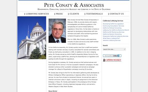 Screenshot of Home Page peteconaty.com - Pete Conaty & Associates — Governmental Consulting, Legislative Advocacy and Lobbying in California - captured Oct. 2, 2014