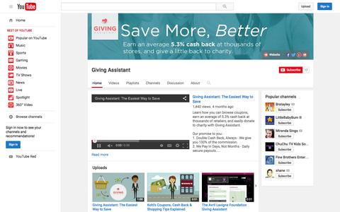 Screenshot of YouTube Page youtube.com - Giving Assistant  - YouTube - captured Nov. 11, 2015