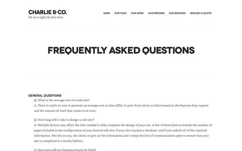 Screenshot of FAQ Page charlienco.ca - Frequently Asked Questions | Charlie & Co. - captured Nov. 4, 2016
