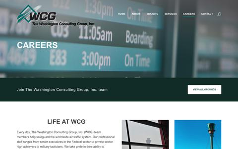 Screenshot of Jobs Page washcg.com - The Washington Consulting Group, Inc.     Careers - captured Oct. 24, 2017