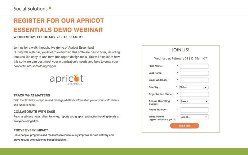 Apricot Essentials Live Demo Webinar | Social Solutions