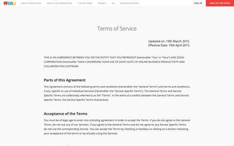 Zoho - Terms of Service