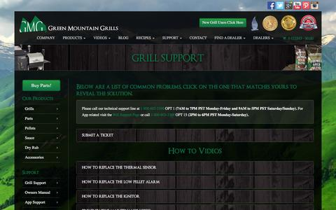 Screenshot of Support Page greenmountaingrills.com - .: GMG Support :. Answers to help you understand your grill. - captured July 19, 2016