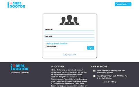 Screenshot of Login Page ionlinedoctor.com - Video Call Online Doctors 24/7 › Log In - captured July 19, 2016