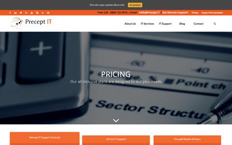 Screenshot of Pricing Page precept.it - Pricing - Precept IT support & services Belfast, Northern Ireland - captured Aug. 23, 2017