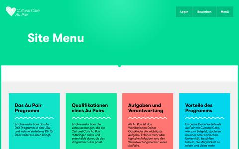 Screenshot of Menu Page culturalcare.de - Site Menu | Cultural Care - captured June 26, 2018