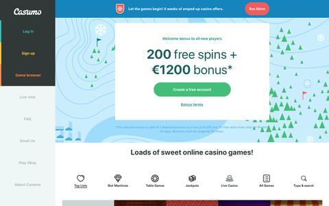 Screenshot of Home Page casumo.com - Casumo - an online casino with €1200 + 200 free spins - captured Dec. 4, 2018