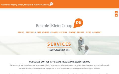 Screenshot of Services Page rkgcommercial.com - Reichle | Klein Group - Services - captured Oct. 18, 2018