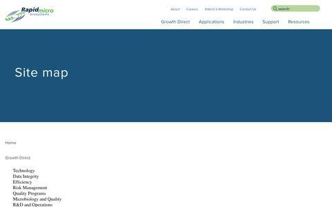 Screenshot of Site Map Page rapidmicrobio.com - Site map - captured Oct. 24, 2017